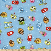 Yo Gabba Gabba! Head Toss Cotton Fabric - Blue K4103-7