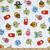 Yo Gabba Gabba! Head Toss Cotton Fabric - White K4103-3