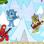 Yo Gabba Gabba! Ice Mountain Cotton Fabric