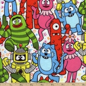 Yo Gabba Gabba! Packed Characters Flannel Fabric - Multi J4074-130F