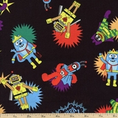 Yo Gabba Gabba! Super Hero Cotton Fabric - Black K4102-4
