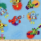 Yo Gabba Gabba! Super Hero Cotton Fabric - Blue K4102-7