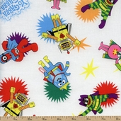 Yo Gabba Gabba! Super Hero Cotton Fabric - White K4102-3