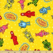 Yo Gabba Gabba! Tossed Characters Cotton Fabrics - Yellow