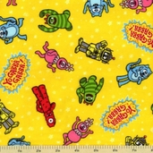 Yo Gabba Gabba! Tossed Characters Flannel Fabric - Yellow
