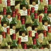 You Had Me At Merlot Bottles Cotton Fabric - Multi Q1655-44018-735W