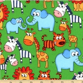 Zoo Animal Flannel Cotton Fabric - Green