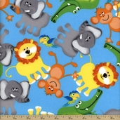 Zoo Animals Flannel Fabric - Blue