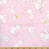 Zoophabet Rabbits Cotton Flannel - Pink 7570-6