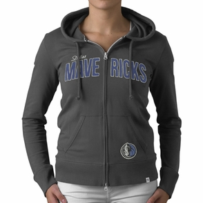 Dallas Mavericks 47 Brand Women's Pep Rally Full Zip Hoody - Grey - Click to enlarge