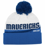 Dallas Mavericks adidas Cuffed Knit Beanie Hat with Pom - Blue/White