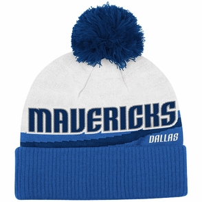 Dallas Mavericks adidas Cuffed Knit Beanie Hat with Pom - Blue/White - Click to enlarge