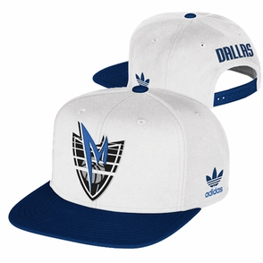 Dallas Mavericks adidas Flat Brim Trefoil Snapback Cap - White - Click to enlarge