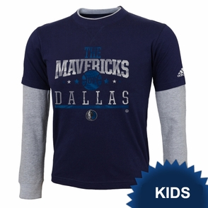 Dallas Mavericks adidas Kids Faux Layering Top - Navy/White - Click to enlarge