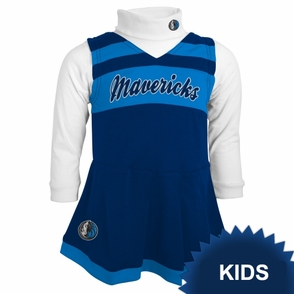 Dallas Mavericks adidas Kids Girls Cheerleader Jumper Dress - Blue/Navy/White - Click to enlarge