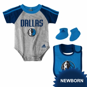 Dallas Mavericks adidas Newborn Creeper Bib and Bootie Set - Grey/Blue/Navy - Click to enlarge