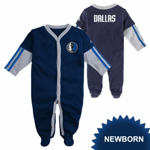 Dallas Mavericks adidas Newborn Long Sleeve Coverall - Navy - Click to enlarge