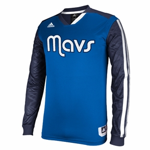 Dallas Mavericks adidas On-Court Long Sleeve Shooting Shirt - Blue - Click to enlarge