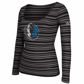 Dallas Mavericks adidas Originals Women's Big Better Logo Triblend Long Sleeve Top - Black - Click to enlarge