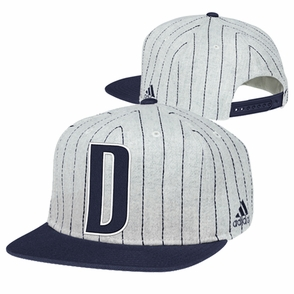 Dallas Mavericks adidas Vintage 'D' Pinstripe Snapback Cap - Grey/Navy - Click to enlarge