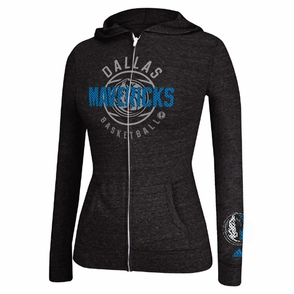 Dallas Mavericks adidas Women's Courtside Full Zip Hoody - Charcoal - Click to enlarge
