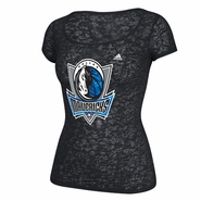 Dallas Mavericks adidas Women's Pattern Logo Scoop Neck Tee - Black
