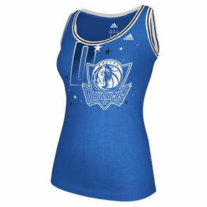 Dallas Mavericks adidas Women's Scoop Neck Tank - Blue - Click to enlarge
