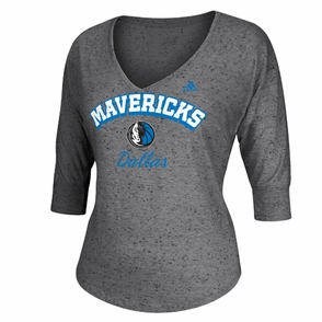 Dallas Mavericks adidas Women's Sparkle Long Sleeve Triblend Top - Grey - Click to enlarge