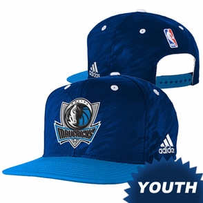 Dallas Mavericks adidas Youth Authentic On-Court Snapback Cap - Navy/Blue - Click to enlarge