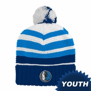 Dallas Mavericks adidas Youth Cuffed Knit Beanie Hat with Pom - Navy/White/Blue