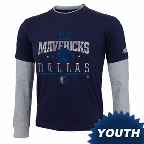 Dallas Mavericks adidas Youth Faux Layering Top - Navy/White - Click to enlarge