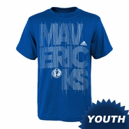 Dallas Mavericks adidas Youth Written Out Tee - Blue