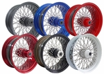 21 x 2.15 & 16 x 3.5 - 60 Spoke Powder Coated Wheel & Spoke Package