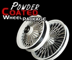 21 x 2.15 Front & 16 x 3.5 Rear White Powder Coated 52 Fat Spoke Wheel Package