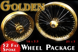 21 x 3 Front & 16 x 3.5 Rear Gold & Black Smooth 52 Fat Spoke Wheel Package - click to enlarge
