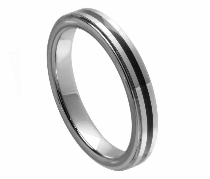 4mm tungsten wedding band ring high black