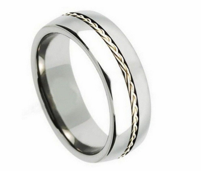 8mm Tungsten Men Women Wedding Band Ring Grooved Braided Sterling