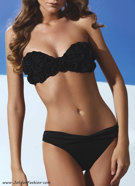 Floral Applique Black Bandeau Swimsuit