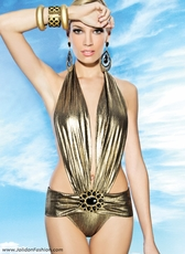 Deep Plunge Gold Monokini Swimsuit