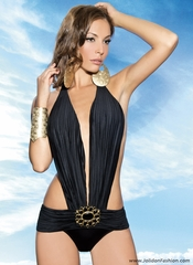 Midnight Black Plunge Monokini Swimsuit