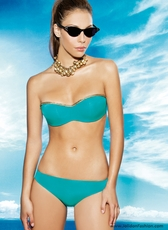 Teal and Gold Bandeau Bikini