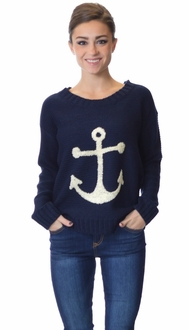 Anchors Away Navy Pullover Sweater