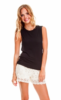 Black Double Twist Muscle Tee
