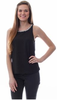 Black Textured Jewel Collar Blouse