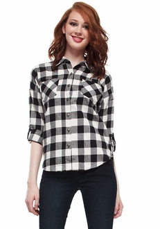 Black & White Gingham Zipper Back Button-Up