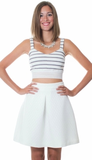 Black & White Stripe Crop Top