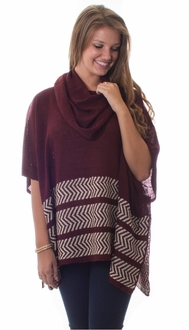 Burgundy Cowl Neck Poncho