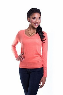 Button Sleeve V-Neck Sweater - Coral