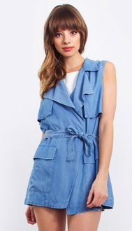 Chambray Sleeveless Trench Jacket