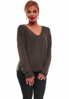 Charcoal & Leather V-Neck Sweater
